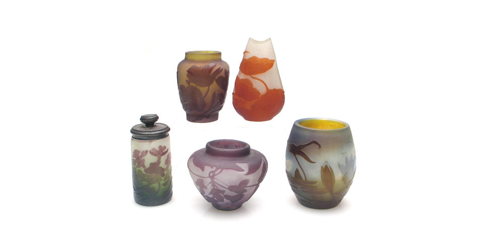A group of five Gallé cameo glass articles