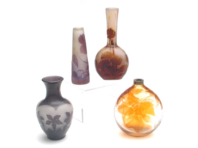 A group of six Gallé cameo glass articles