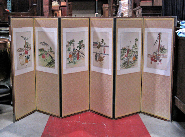 A mid-size six-panel embroidered cloth screen