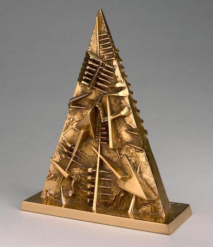 Arnaldo Pomodoro (Italian, born 1926) Triangolo, 1999 8 1/4 x 6 1/4 x 2 1/4in (21 x 16 x 6cm)