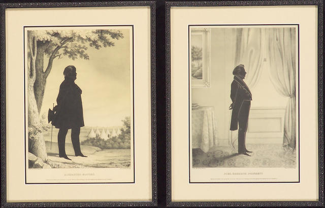 A group of six framed silhouette prints