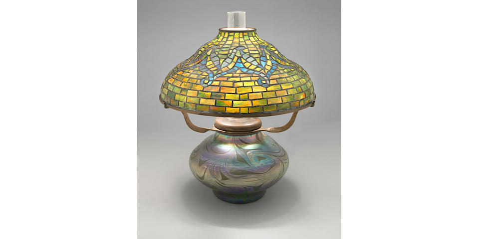 A Tiffany Studios Favrile glass and bronze Tyler lamp