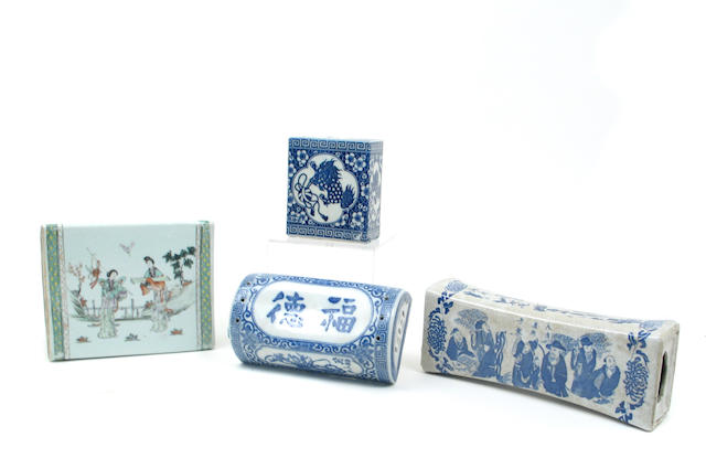 A group of seven Chinese and Japnanese porcelain pillows