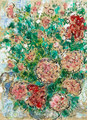 (n/a) Marc Chagall (Russian/French, 1887-1985) Pivoines et couple, c. 1970 24 5/8 x 18 1/4in (62.5 x 46.5cm)