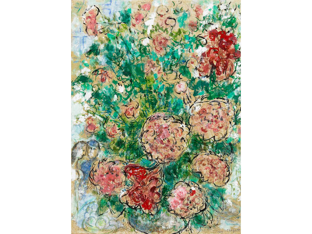 Marc Chagall (Russian/French, 1887-1985) Pivoines et couple, c. 1970 24 5/8 x 18 1/4in (62.5 x 46.5cm)