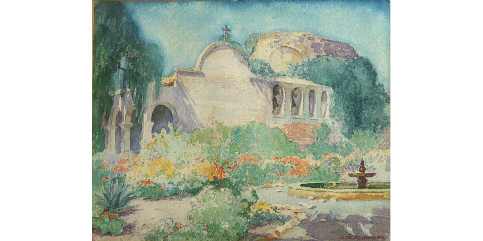 Arthur Grover Rider (American, 1886-1975) A mission courtyard in bloom 10 x 12 1/4in