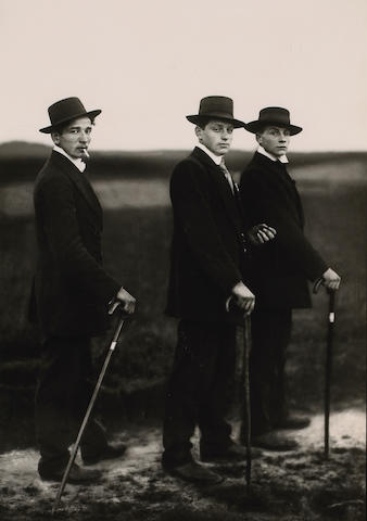August Sander (German, 1876-1964); Young Farmers on Way to a Dance, Westerwald;