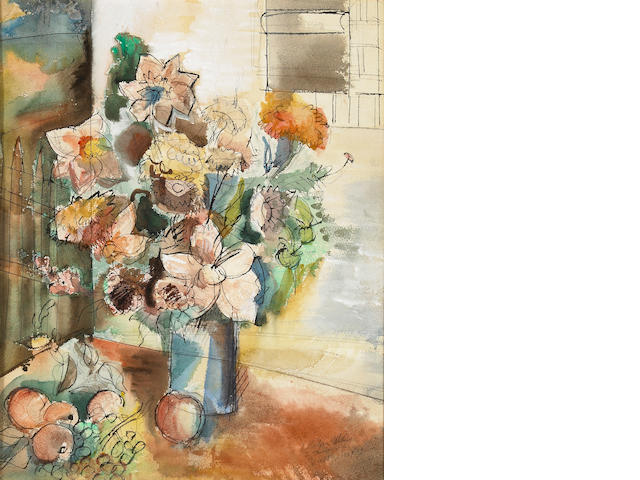 Jean Dufy, Still Life with Flowers and Fruit, watercolor and pen on paper