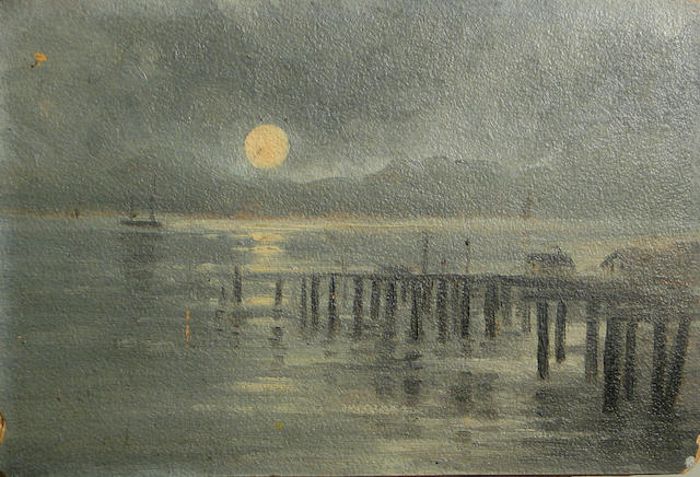 Attributed to Annie Lyle Harmon (American, 1855-1930) A dock at moonlight 7 1/4 x 11in