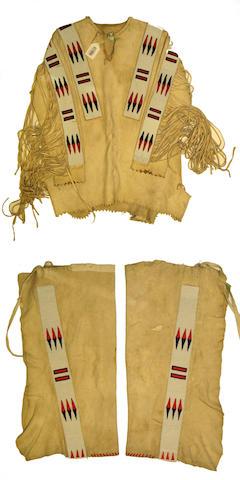 A Blackfoot beaded man's shirt and leggings