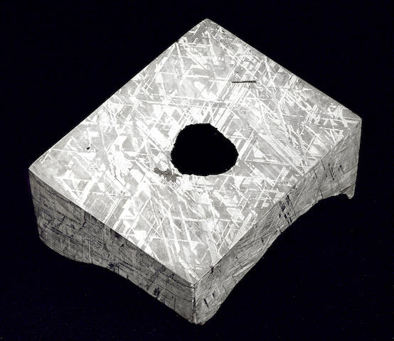 Gibeon Meteorite — Crystalline Structure Dramatized in Three Dimensions