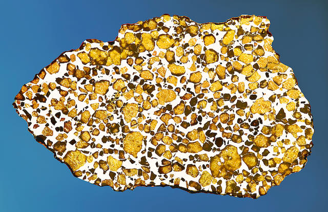 Imilac Meteorite — Complete Slice of a Meteorite With Space Gems