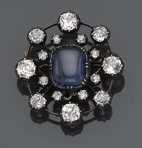 An antique sapphire, diamond and silver topped gold brooch pendant,