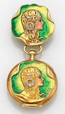A lady's art nouveau enamel, diamond and eighteen karat gold pendant watch, Tiffany & Co.