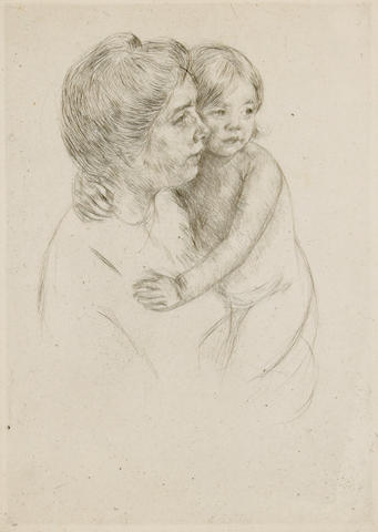Mary Cassatt (American, 1844-1926); Denise Holding her Child;