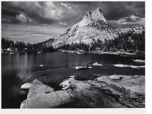 Ansel Adams (American, 1902-1984); Cathedral Peak and Lake, Yosemite National Park, California;