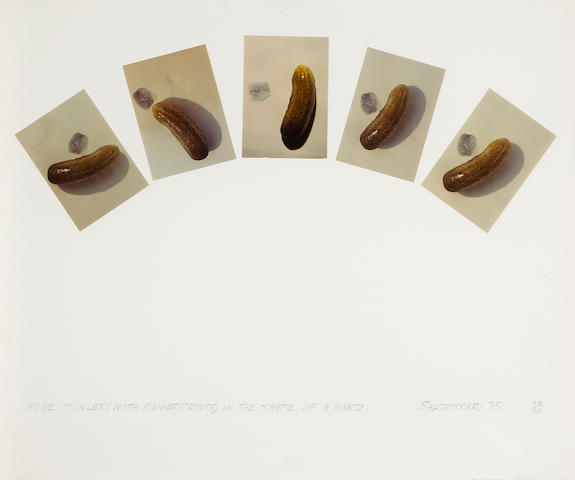 John Baldessari (American, born 1931); Five Pickles (with Fingerprints) in the Shape of a Hand;