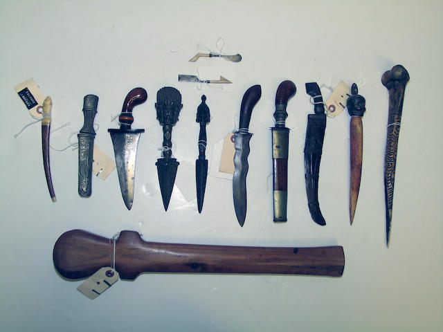A group of ethnographic weapons and other items