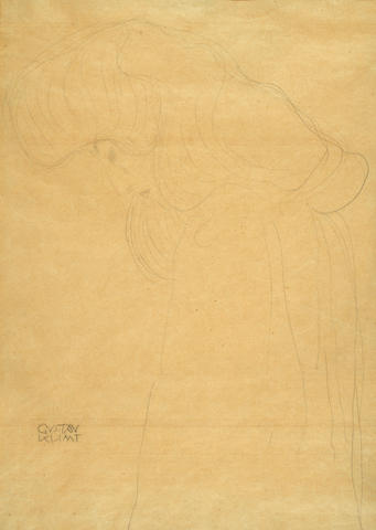 Gustav Klimt (Austrian, 1862-1918) Half-length Portrait of a Woman Facing Left