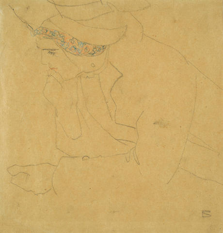 Egon Schiele (Austrian, 1890-1918) Seated Lady in a Hat, Holding her Chin