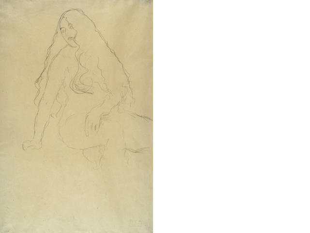 Gustav Klimt (Austrian, 1862-1918) Seated Female Nude with Long Hair
