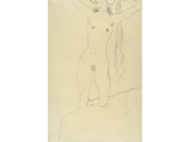 (n/a) Gustav Klimt (Austrian, 1862-1918) Nude with Raised Arms, 1911 22 1/16 x 14 3/4in (56.1 x 37.4cm)