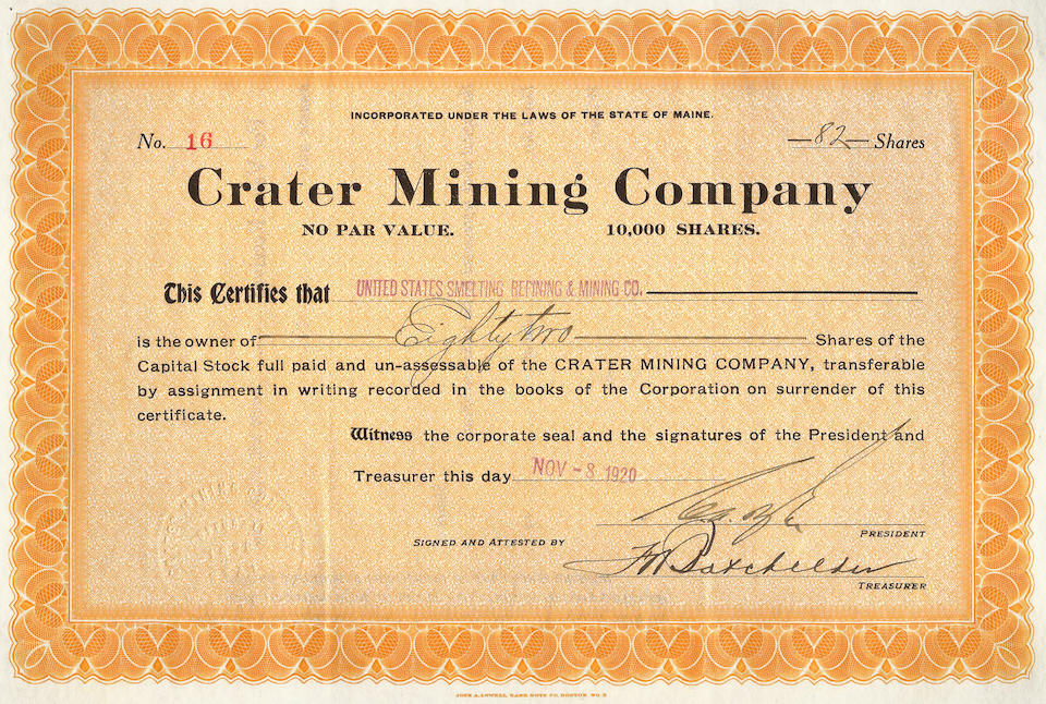 """Canyon Diablo — Meteorite and Very Rare """"Devil's Canyon"""" Stock Certificate"""