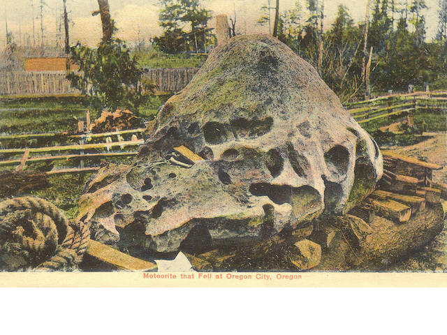Collection of Meteorite Postcards —Four Postcards Featuring the Willamette Meteorite in Oregon and t