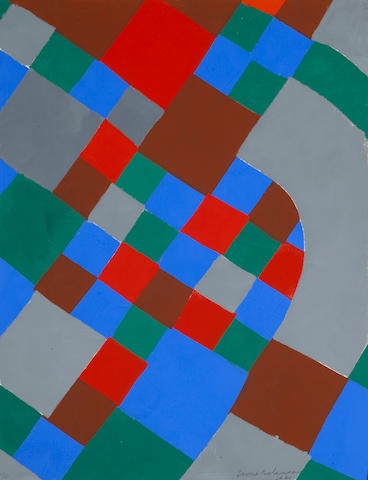 Sonia Delaunay (French, 1885-1979); Untitled (Blue, Red, Grey, Brown, Green);