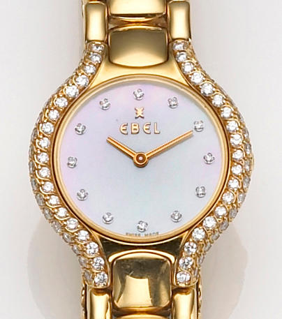 A lady's diamond and eighteen karat gold wristwatch, Ebel