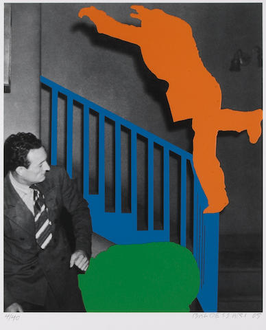 John Baldessari (American, born 1931); Two Figures: One Leaping (Orange); One Reacting (With Blue an
