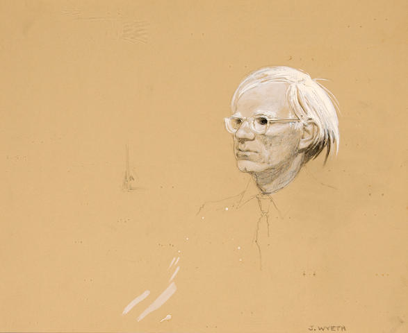 Jamie Wyeth (American, born 1946) Portrait of Andy Warhol sight 12 3/4 x 15 1/4in