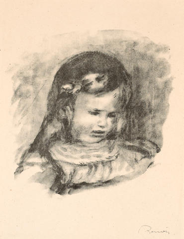 Pierre-Auguste Renoir (French, 1841-1919); Claude Renoir, la Tête Baisée, from Douze lithographies...;