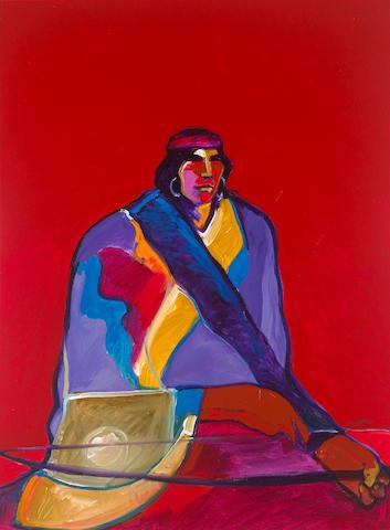 John Nieto (American, born 1936) Navaho Warrior 40 x 30in (101.6 x 76.2cm)