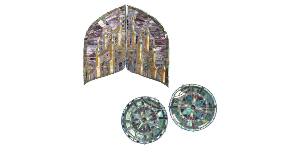 A pair of Tiffany Studios leaded glass cathedral windows and a pair of American leaded glass cathedral windows