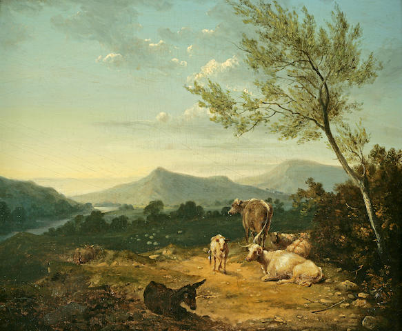Joshua Shaw (British, 1776-1860) Landscape with Cattle 9 1/2 x 12in