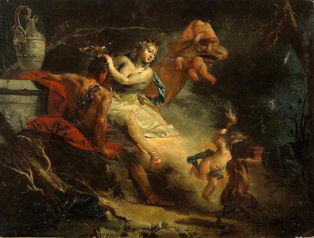 Attributed to Francesco Zugno (Italian, 1709-1787) Ariadne and Bacchus 20 3/4 x 28in (52.8 x 71.1cm) unframed