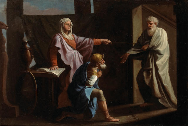French School, 17th/18th Century Saul and the Witch of Endor 35 x 52 1/1in (88.9 x 133.4cm)