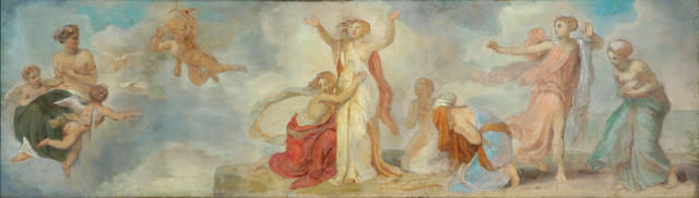 Follower of Pierre Puvis de Chavannes (French, 1824-1898) The supplication 20 x 67in (50.8 x 170.2cm)