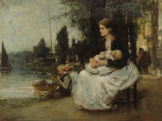 John Robertson Reid (British, 1851-1926) The waterman's wife 18 x 24in (45.7 x 61cm)