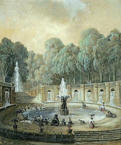 Circle of Hubert Robert (Paris 1733-1808) Washerwomen at a fountain 10 3/4 x 8 7/8in (27.3 x 22.5cm)