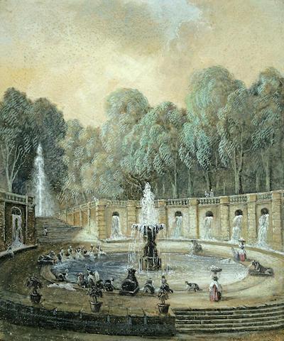Circle of Hubert Robert (Paris 1733-1808) Washerwomen at a fountain 10 3/4 x 8 7/8in (27.3 x 22.5cm)