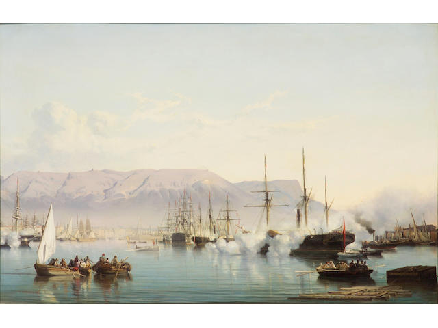 Vincent Joseph François Courdouan (French, 1810-1893) Arrival into the Bay of Toulon 32 1/4 x 49 1/2in (81.8 x 125.7cm)