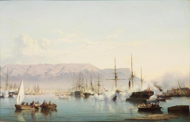 Vincent Joseph François Courdouan (French, 1810-1893) Arrival into the Bay of Toulon 32 1/4 x 49 1/2in (81.8 x 125.7cm)