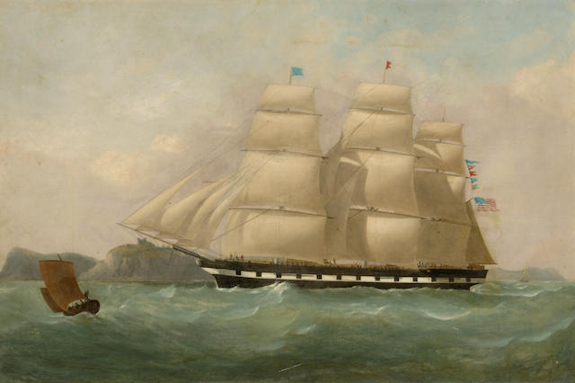 Attributed to Philip John Ouless (British, 1817-1885) The Red Swallowtail Line packet ship 'American Congress' off Dover 24 x 36in (61 x 91.4cm)