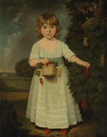 Circle of John Russell (British, 1745-1806) A portrait of a girl with a basket of currants, thought to be Miss Betsy Arden 36 x 28 1/4in