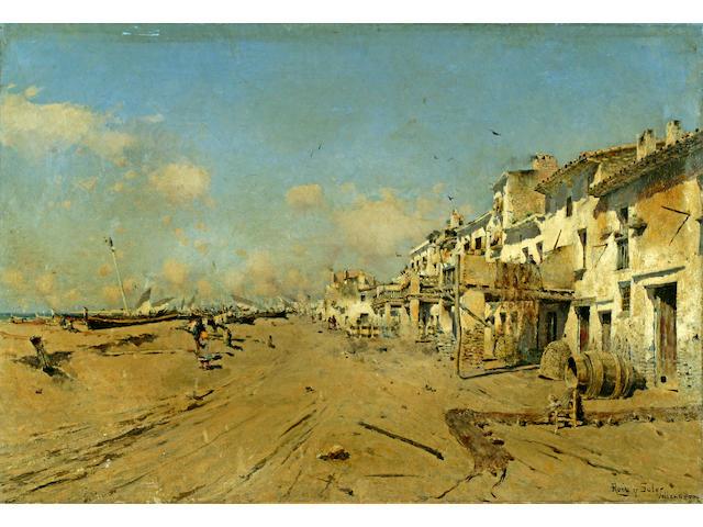 Joan Roig Soler (Spanish, 1852-1909) A view of a Spanish coastal village 20 1/2 x 29 3/4in (52 x 76cm) unframed