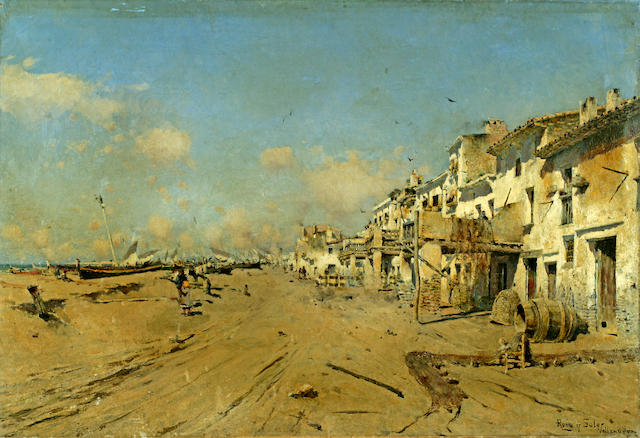 Joan Roig Soler (Spanish, 1852-1909) A view of a Spanish coastal village 20 1/2 x 29 3/4in (52 x 76cm) unframed
