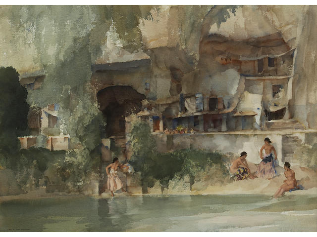 Sir William Russell Flint R.A., P.R.W.S. (British, 1880-1969) In sunny Perigord 20 1/2 x 27 3/4in (52 x 70.5cm)