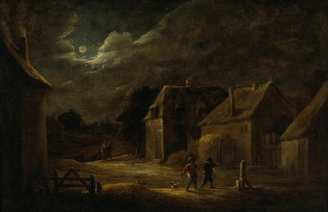 Follower of David Teniers II (Flemish, 1610-1690) A moonlit village street with peasants and a dog 20 1/2 x 30 3/4in (52 x 78.1cm)